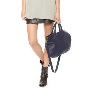 Clare V Messenger Crossbody Bag Leather Navy